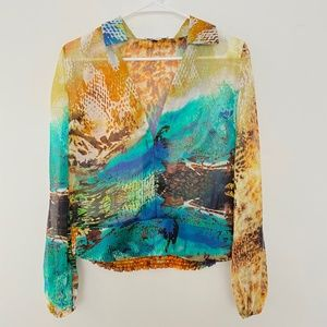 Alberto Makali Small Silk V Neck Pullover Blouse
